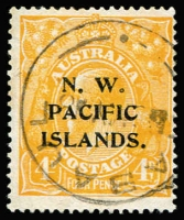 Lot 1365 [2 of 2]:4d Orange KGV Varieties with 4d orange Weeping '4' at right [2L18] & 4d chrome-yellow Curved flaw on roo's hip [2L55] with Wewak datestamp. (2)