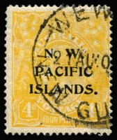Lot 1365 [1 of 2]:4d Orange KGV Varieties with 4d orange Weeping '4' at right [2L18] & 4d chrome-yellow Curved flaw on roo's hip [2L55] with Wewak datestamp. (2)