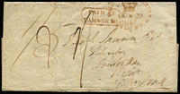 "Lot 1096 [1 of 2]:1847 (Oct 14) cover to Kent, England, rated ""1/5"" & ""1/-"", on reverse fair strike of scarce 'TAMWORTH/[crown]/OCT14/184[7]"