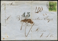 "Lot 1097:1854 (Jul 21) outer ""per Noina"" to Boston USA with imperf 3d Laureate (complete margins) tied by Sydney bars cancel, rated ""1/-"" & ""40"", with '45' handstamp applied (scarce on Australian mail) to indicate the extra 5c fee for US internal letter postage, some small blemishes. Typed notes of shipping route included."