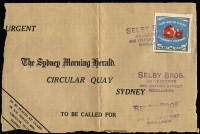 Lot 1003:1937 Government Tramway 6d (in red) on 4d with black frame tied by Selby Bros (newsagents, Woollahra) handstamp to large-part of Sydney Morning Herald envelope front. Attractive & unusual. [Government tramway issues were used by newsagents to send advertising copy to the Sydney Morning Herald. Stamps and envelopes were also used on some bus routes]