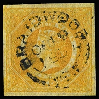 Lot 471:1854-59 Imperf Large Diadems Wmk Double-Lined Numeral 8d golden-yellow SG #97, four large balanced margins, neatly cancelled by 'BRAIDWOOD/OC19/56' datestamp, Cat £1,400. RPSL Certificate (1960).