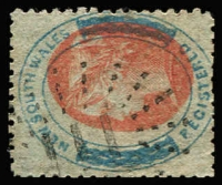 Lot 1105:111: (A2) type 2R20 on (6d) registered P13 with misplaced vignette, [Rated 2R].  Allocated to Tambaroora-PO 9/7/1852; closed 31/3/1923.