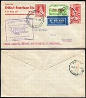 Lot 1588:1931 1d + 1d Smiling Boy SG #546 plus 1d + 1d Tuberculosis Health and 5d on 3d Air on 1932 (Jan 20) F/F cover from Wellington to Westport (backstamp), fine condition.