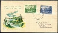 Lot 454:1959 Ball Bay 3d emerald-green & 2/- deep blue SG #6a & #12a tied to illustrated FDC by '6JY59' FDI datestamp, typed address.