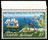 Lot 1352 [2 of 2]:1970 Captain Cook Bicentenary 10c HMS Endeavour and aborigine corner marginal example with Major 4mm downward shift of blue colour. Eye-catching flaw supplied with normal stamp for comparison.