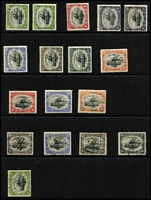 Lot 463 [1 of 4]:1901-1930s Collection with Queensland 'used in' with 'BNG'-in bars cancels x4, 1901-05 BNG to 1/- (x2) mint plus a few mint or used duplicates, 1906 Large 'Papua' 4d (trimmed), 6d & 1/- mint plus 2d used, 1907 Small 'Papua' ½d, 2d & 2½d mint plus 4d used, few Small & Large 'PAPUA' to 4d or 6d, Monocolours including 2½d perf 'OS' mint, Bicolours & Surcharges to 1/3d on 5/-, 1932 £1 Pictorial mint (small thins), etc; condition quite variable though many are fine. Inspection recommended. (80)