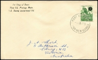 Lot 1429:1959 5d on ½d Tree Kangaroo tied by Port Moresby '1DE59' FDI datestamp to JA Short FDC. Rare.