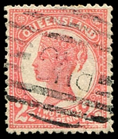 Lot 1429 [2 of 2]:Queensland Used in BNG 1895-96 2½d rose SG #214 x2 (shades) each with 'BNG' Bars cancels, fine used. (2)