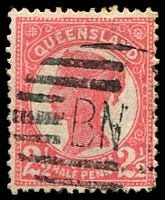 Lot 1429 [1 of 2]:Queensland Used in BNG 1895-96 2½d rose SG #214 x2 (shades) each with 'BNG' Bars cancels, fine used. (2)