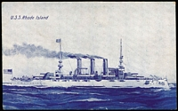 Lot 52:American Fleet Souvenir Card: W&B Series printed in Melbourne showing USS Rhode Island, fine unused.