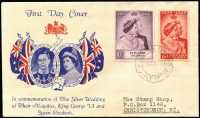 Lot 1646 [1 of 2]:1949 Silver Wedding set SG #11-12 tied by '1AUG49' FDI datestamp to illustrated FDC. Fine and rare.