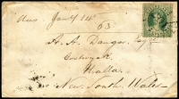 Lot 1127 [1 of 2]:1862 (Dec 5) petite inter-colonial cover to Uralla (NSW) with rare franking of 6d Chalon SG #9 tied by Rays '201' cancel of Rockampton, backstamped at Rockhampton, Brisbane, & Warwick (Qld) and Maryland, Tenterfield, Armidale & Uralla (NSW), minor aging. Most attractive.