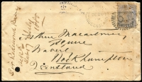 "Lot 962:1879 (Dec 20) Macartney correspondence cover from Brisbane to Waverley (Station), on revese Rockhampton (Dec 22) & Marlborough (Dec 24) datestamps, ""Sir Redmond Barry/ackd/Sat 17 July 1880"" docketing on face, some aging. [John Arthur Macartney worked as an associate to Judge Redmond Barry in the early 1850s]"