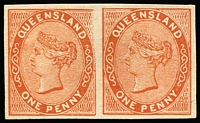 Lot 1018:1879-81 Sideface Plate Proofs 1d reddish-brown Die I/II imperforate Plate Proof pair on thin card, left unit showing Portion of upper-right frame missing. Very fine.