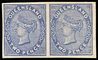 Lot 1019:1879-81 Sideface Plate Proofs 2d blue Die II imperforate Plate Proof pair on thick paper, left unit showing Flaw in 'W' of 'TWO'. Very fine.