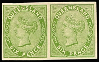 Lot 497:1879-81 Sideface Plate Proofs 6d yellow-green imperforate Plate Proof pair on thin card, fine.