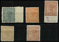Lot 498 [2 of 2]:1887-89 Lined-Oval Die II Wmk 2nd Crown/Q Perf 12 2/- Colour Trials in brown-purple, grey (marginal) or yellow-brown, also imperforate marginal single in brown unused, together with the issued 2/- stamps in deep brown or pale brown SG #181-82. (6)