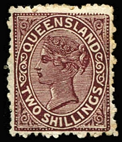 Lot 498 [1 of 2]:1887-89 Lined-Oval Die II Wmk 2nd Crown/Q Perf 12 2/- Colour Trials in brown-purple, grey (marginal) or yellow-brown, also imperforate marginal single in brown unused, together with the issued 2/- stamps in deep brown or pale brown SG #181-82. (6)