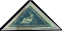 Lot 1657:1863-64 Wmk Anchor 4d deep blue Triangle SG #19, very good to huge margins, tied to piece by bars cancel, Cat £130+.