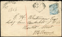 "Lot 1160 [1 of 2]:1890 (May 23) registered cover to Melbourne with scarce 6d pale blue P10 solo franking tied by Adelaide datestamp, arced 'REGISTERED/No' handstamp numbered ""5656"", Melbourne arrival backstamp, clean condition."