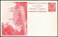 Lot 1077:1908 1d View Card scarlet-red on glazed white stock, view 'Anglican Cathedral' HG #8.2, fine unused.