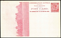 Lot 1083:1908 1d View Card scarlet-red on glazed white stock, view 'Prince Alfred College' HG #8.21, fine unused.