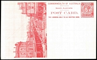 Lot 1080:1908 1d View Card scarlet-red on glazed white stock, view 'Hindley Street' HG #8.15, fine unused.