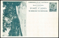 Lot 1086:1908 1d View Card greenish-black on glazed white stock, view 'Wool Carting' HG #8.27, fine unused.