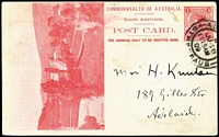 Lot 1079:1908 1d View Card scarlet-red on glazed white stock, view 'Clarendon' HG #8.9, minor blemishes, 1909 Adelaide local use.