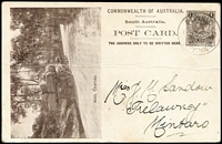Lot 1087:1908 1d View Card brown on glazed white stock, view 'Wool Carting' HG #8.27, horizontal crease, used in 1910 from Pt Pirie to Mintaro.
