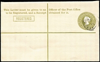 Lot 1091:1911 Queen Victoria 3d olive-green on white laid paper with pointed flap HG #1, Melbourne 'DE/?7