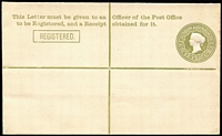 Lot 1090:1911 Queen Victoria 3d olive-green on white laid paper with pointed flap HG #, fine unused.