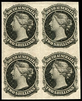 Lot 1048:1868-76 2/- Plate Proof imperforate block of 4, in black, on unwatermarked, ungummed paper, mild horizontal bend through lower units, fine overall.