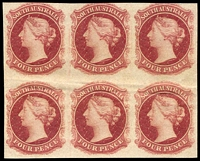 Lot 1049:1868-76 4d Plate Proof imperforate block of 6 in dull claret on unwatermarked, ungummed paper, mild horizontal crease/bend through lower units, fine overall.