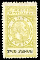 Lot 1156:Stamp Duty: 1915 2d Surcharge on 1d olive-yellow Walker #134, Rated 3R, fresh fine mint.