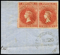 Lot 991:1856-58 Imperf Adelaide Printing 2d red SG #9 pair, huge margins, cancelled by light diamond numeral '29' with largely fine Type UF1 'LYNDOCH VALLEY/OC20'1856' datestamp beneath (Rated 3R), Cat £80++ as singles. Premium condition.