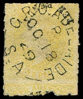 Lot 993:1860-69 Second Roulettes 10d (in black) on 9d yellow error Surcharge inverted at top (& partially at base on the adjoining stamp) SG #37a, fine Adelaide 'OC18/69' datestamp, Cat £7,000. Extremely rare. [Just 17 examples have been recorded. Michael Blake's single sold for $10,400 in 2014, Besancon's re-joined pair sold for $12,900 in the recent Corinphila sale of his collection.]