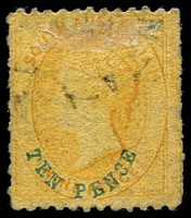 Lot 994 [2 of 2]:1867-70 Perf 11½-12½xroulettes 10d on 9d yellow error Printed on both sides 59a, lightly cancelled, hinged on obverse, Cat £1,200. Seldom offered.