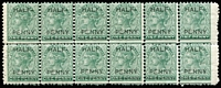 Lot 1057:1882 DLR Surcharge ½d on 1d blue-green SG #181 block of 12 (6x2), fresh MUH, Cat £168++.