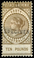 Lot 1145 [2 of 13]:1886-96 'POSTAGE & REVENUE' Perf 10 2/6d to £20 set with Type 2 (18½ x 2½mm) 'SPECIMEN' overprints, all Wmk Sideways except £3 (Wmk Upright), odd blemish (£5 slight thinning at top), mostly part to large-part gum. Generally finer & fresher then McCredie's set which sold for $2,500+ in 2011. (13)