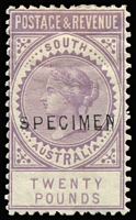Lot 1145 [1 of 13]:1886-96 'POSTAGE & REVENUE' Perf 10 2/6d to £20 set with Type 2 (18½ x 2½mm) 'SPECIMEN' overprints, all Wmk Sideways except £3 (Wmk Upright), odd blemish (£5 slight thinning at top), mostly part to large-part gum. Generally finer & fresher then McCredie's set which sold for $2,500+ in 2011. (13)