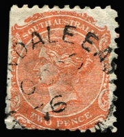 Lot 1252:Allandale East: (B2) large-part type UF3 strike on 2d orange [Rated 3R].  PO 27/4/1863; renamed Allendale East PO c.1937.