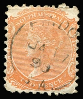 Lot 1204:Findon: (C2) clearly discernible large-part Type UF4a strike on 2d orange, [Rated 4R].  PO 23/11/1859.