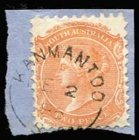 Lot 1254:Kanmantoo (1): (A2) very fine & largely complete Type UF4a strike tying 2d orange to small piece [Rated 4R].  PO 6/4/1848; closed c.1852.
