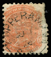 Lot 1209:Kopperamana: (B2) largely fine large-part Type UF4b strike on 2d orange, [Rated 4R].  Renamed from Lake Hope PO c.1869; renamed Killalpaninna PO 1/8/1889.