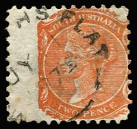 Lot 1210:McGrath's Flat (2): (B3) part Type UF5 strike on 2d orange, [Rated 4R].  PO 17/3/1862; closed 1/4/1882.