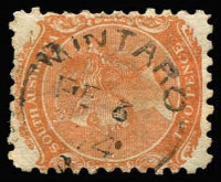 Lot 1258:Mintaro (1): (B2) largely fine Type UF4a strike on 2d orange [Rated 4R].  PO 5/5/1856; closed c.-/4/1902. [Transferred to Mintaro Central.]