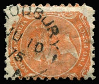 Lot 1212:Modbury (1): (A3) very fine good-part Type UF4a strike of 2d orange, [Rated 4R].  Renamed from Old Shepherd's Inn PO 17/2/1859; renamed Modbury North PO 11/5/1970.