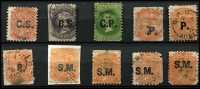 Lot 1165 [2 of 2]:Selection with overprints mostly in black with 'C.S.' x2 including 2d Crown/SA P10 (Rated 2R), 'G.P.', 'P.' x3 (one in blue), 'S.M.' x5 (one in blue ) including 1/- Star Wmk P12 x Roulette (Rated 2R) and a possibly unused 2d P10 x Roulette (heavily thinned); condition is quite mixed. (11)
